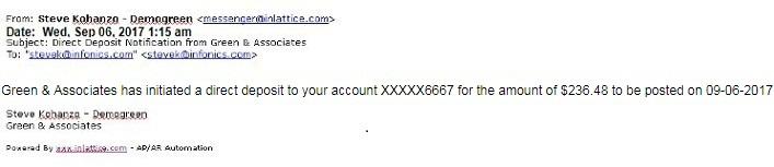 Direct Deposit Email Notification Screen